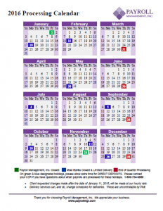 2016 Payroll Processing Calendar