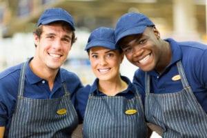 3 happy restaurant employees benefit